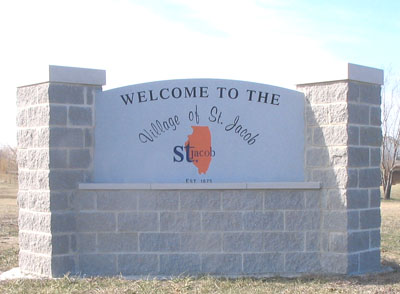 Village of St. Jacob IL Welcome Sign